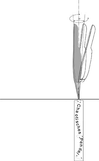 Durch verschiedene chaotische Pendel  in der Erde gleicht die Bewegung dem Duktus des Schreibens.